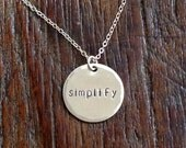 simplify, hand-stamped, sterling silver disk, necklace, (in stock!)