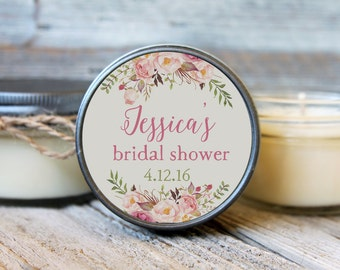 12 - 4 oz Soy Candle Bridal Shower Favors - Rose Label - Floral Bridal Shower Favors - Rustic Bridal Shower Favor - Mason Jar Favor