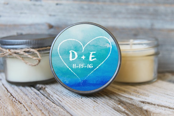 Set of 12 - 4 oz Wedding Favor Candles - Personalized Wedding Favors // Watercolor Heart Wedding Favors // Custom Candle Favors //