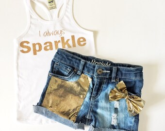 Girls Sparkle glitter tank top and matching jean shorts, perfect gift, matching mommy top available.