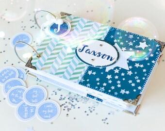 Baby Boy Photo Album, Custom Baby Album, Baby First Year Mini Album, Name Personalised Newborn Mini Photo Album