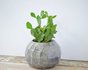 Gem Facet Planter Globe Pot Porcelain Pottery Ceramic Plant Container Chose Color IN STOCK