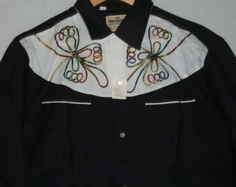 NOS / 1950s Shirt / M / Two Tone / Lurex / Rayon / Rockabilly Shirt / Western Shirt / Vintage Mens Shirt / Stage Shirt / Elvis / Deadstock