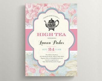 Printable Kitchen Tea Invitation \ High Tea Invite \ Bridal Shower Invitation \ Shabby Chic Invite \ Rose Invite \ Vintage Invite (BR178)
