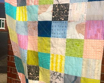 Modern Patchwork Lap Quilt or Baby Blanket