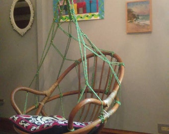 Egg Chair / Swing Chair / Mid Century /  Bamboo Rattan Macrame Upcycled