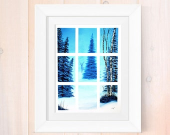 Oil painting reprint, winter wonderland scene, window scene print, Giclee print, deer forest painting, mountain art print, rustic home decor