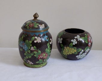 Set of 2 Antique Chinese Black Cloisonné Bronze Floral Decorated Covered Ginger Jar and Bowl Vase - Collection Vintage Chinoiserie Decor