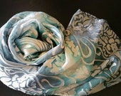 Sexy, soft skyblue silk scarf, luxury accessories for women,gifts for her, Springtime, handpainted silk scarf, one-of-a-kind, travel,Easter