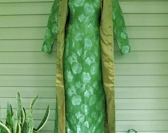 ultra-glam 1960s green floral evening ensemble wiggle gown and matching evening coat sz sm