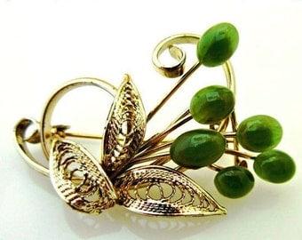 Nephrite Jade Flower Brooch