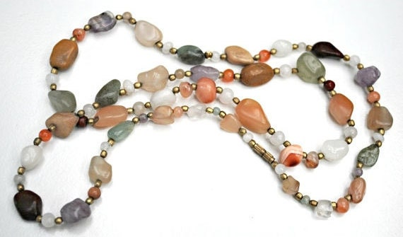 Gemstone Bead  necklace - Jasper Agate quartz Amethyst Carnelian  polished nugget beads
