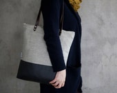 tote bag canvas fabric daybag gray sac leather strap large handmade plain