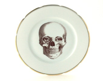 SALE Woman Eyes Skull Vintage Plate Altered  Porcelain Halloween Decor Golden Rim White Fun Funny Human