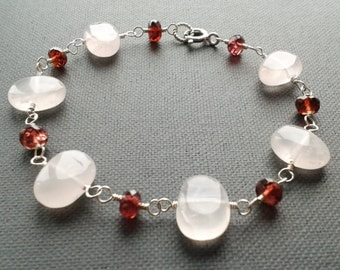 Rose quartz and garnet bracelet, sterling silver jewelry