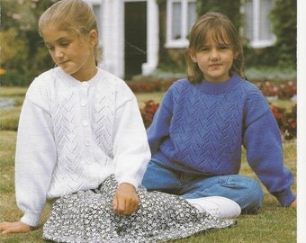 ORIGINAL KNITTING PATTERN Child's Cardigan & Sweater Knitting Pattern - Sirdar 4941 - Double Knitting - 51-76 cm (20-30 ins)