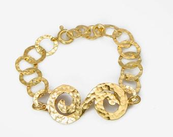 Spiral bracelet, Spiral gold bracelet, Spiral jewelry, Gold spiral, Hammered bracelet, Gold Bracelet