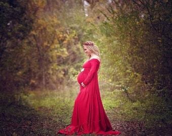 Maternity Gown Long Sleeve,SPLIT Skirt Maternity Photography Prop, Maternity Prop, Wedding Gown, Bridesmaid Dress, Baby Shower Dress
