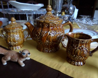 Vintage Japan Stoneware Fall Fruits/Butterscotch/Honey Embossed Teapot/Coffee Pot/Creamer/Sugar Bowl