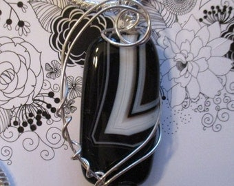 Wire Wrapped in Sterling Silver - Black & White Sardonyx Pendant