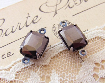 Hematite Gray 10x8mm Preciosa Octagon Rhinestone Connectors in Antiqued Silver Ox Prong Settings Charms Rectangle - Pair