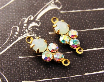 Petite White Opal and AB Crystal Swarovski Rhinestones Round Stones in Brass 2 ring Connector Settings - 2