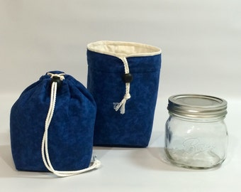 New Size!  Please Read! Mason Jar Carrier Bag - Pint Single Jars to Go Bag blue lunch snack pouch cozy