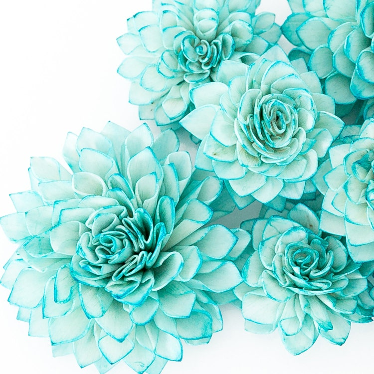 Teal Wedding Flowers Ideas: 10 4 Teal Wooden Flowers Wedding Decorations By