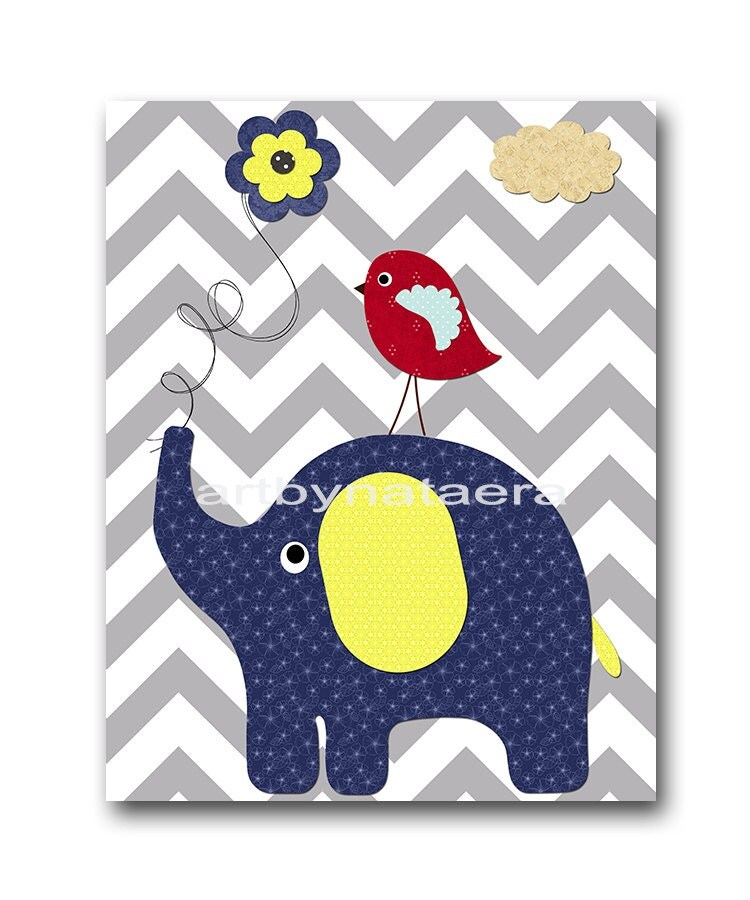 Grey And Blue Decor With Yello Pop Of Color: Navy Blue Grey Red Yellow Baby Boy Wall Decor By Artbynataera