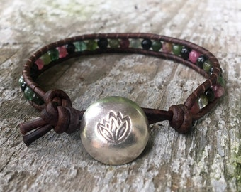 watermelon tourmaline leather bracelet tree pink green black with sterling silver lotus flower button october birthstone birthday gift