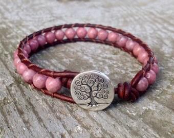 pink rhodonite leather bracelet tree for heart chakra women girls