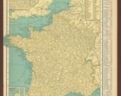 Vintage Map France Original 1926