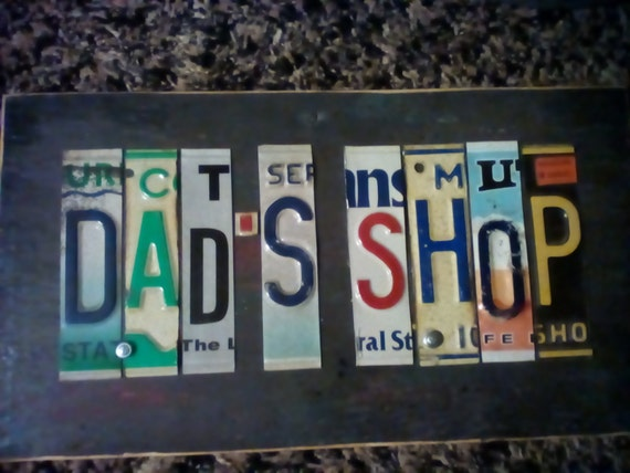Dad S Shop License Plate Wall Hanging