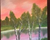 PASTEL SUNSET original one of a kind landscape oil painting art