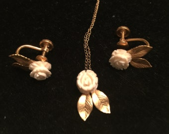 Vintage 14k Karen Lynne Carved White Roses necklace and Earrings