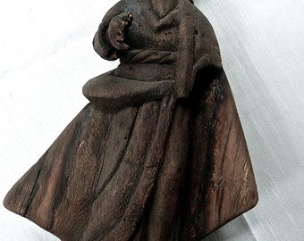 Antique Wood Carving - Wood Statue - Handmade - Antique Figure - Hand Carved - Rich Natural Patina - Antique Statue - Sculpture - Rare Old