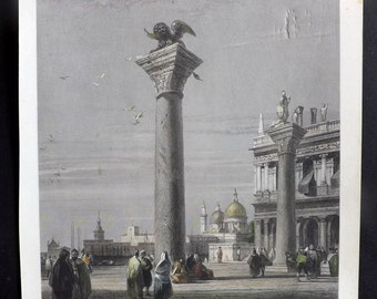 After Bonington C1860 HC Art Journal Print. The Columns of St Mark-Venice. Italy