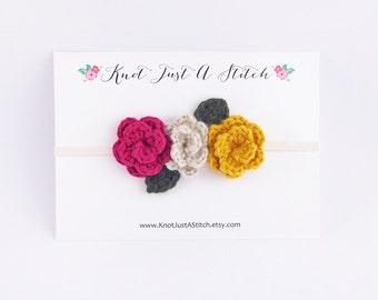 Raspberry Fall Crochet Flower Crown
