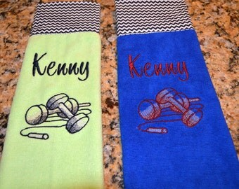 Personalized Work out towel, Gym towel with dumb bells and chevron accents