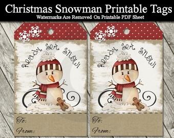 Printable Christmas Snowman Gift Tags - Digital Kraft Tags - Primitive Snowman