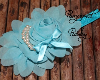 Baby Headband, Shabby Headband,  Turquoise Headband, Stretch Headband, Infant Headband, Wedding Headband, skinny Headband, Flower Headband