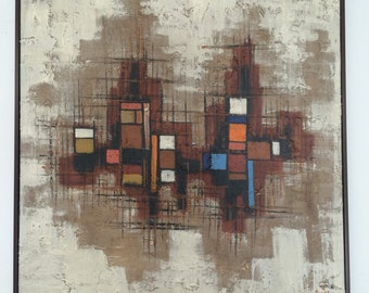 LARGE Mid Century Modern Original Painting Art Wall Hanging Cityscape Heavy Texture Geometic