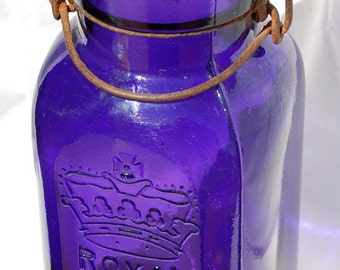 Pristine Purple 1896 dated ROYAL fruit canning jar SQUARE and PURPLE an all original antique Larger Quart size Smalley Co