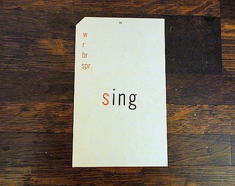 Vintage WORD FLASH Card- Sing Double sided card- 1960s- Mixed media Art supply