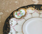 Porcelain saucer - saucer made in Occupied Japan - 1940s china saucer - replacement saucer - gold accented saucer