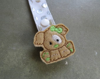 Pacifier Leash Paci Clip - Puppy with Lime Green Bow Feltie Metal Pacifier Leash