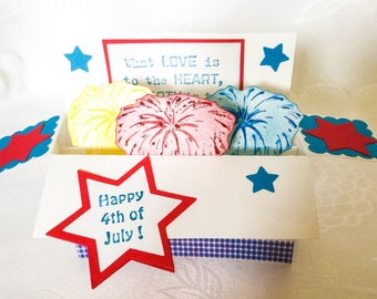 Box pop up card - Happy 4th of July Celebration - Fireworks - Red White and Blue - Patriotic cards - Eagle - Stampin Up handmade cards