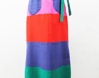 1970s Cotton Colourblocking Maxi Skirt