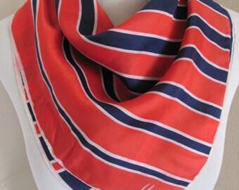 """VERA Neumann Blue Red Ladies Soft Silk Scarf 22"""" Inch Square"""