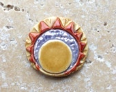 Abstract sun and moon cabochon, stoneware cabochon, hand carved cabochon